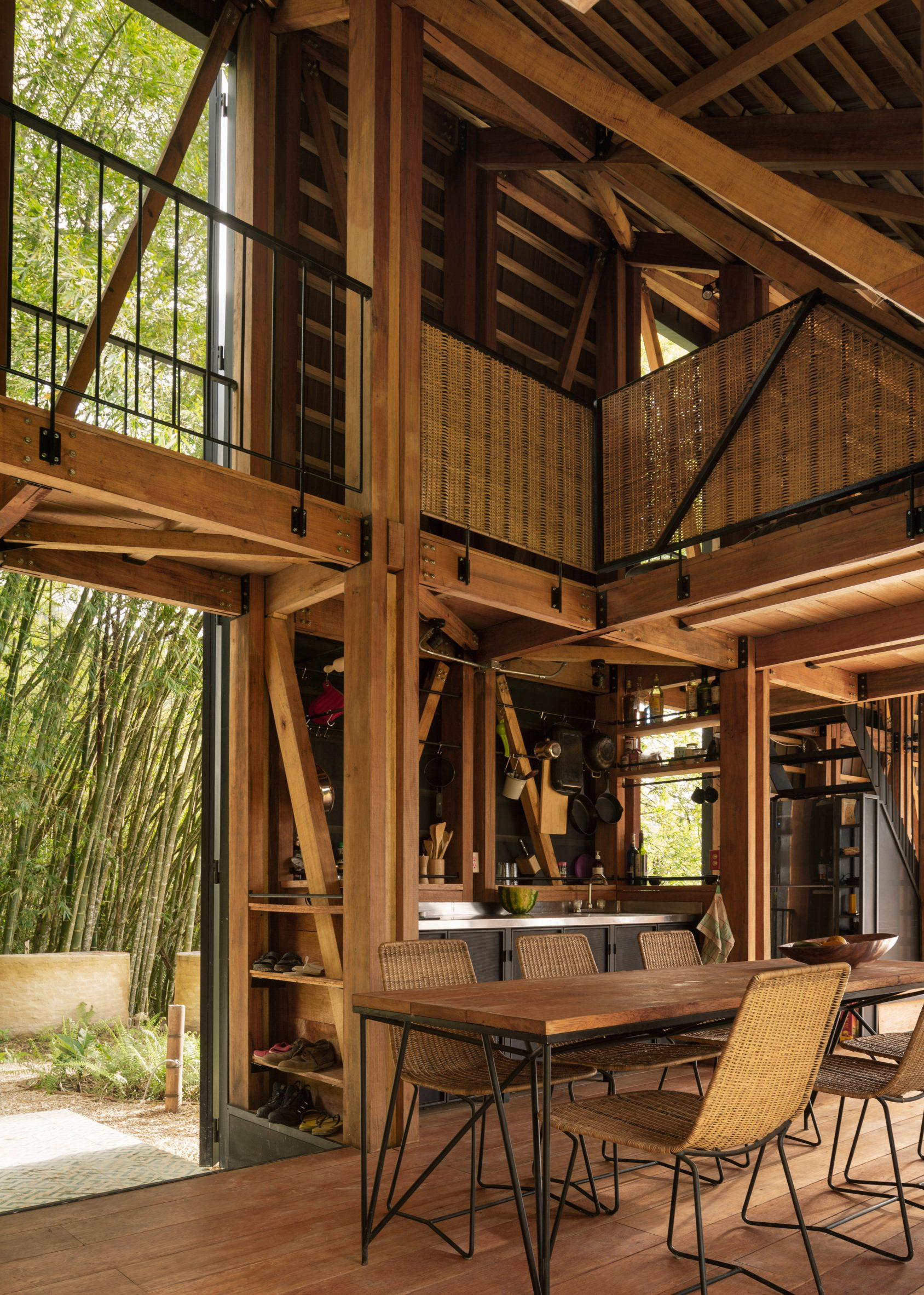 Wooden interiors in the cabin