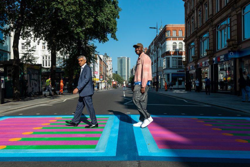 Yinka Ilori and Sadiq Khan stand on Bring London Together crossing