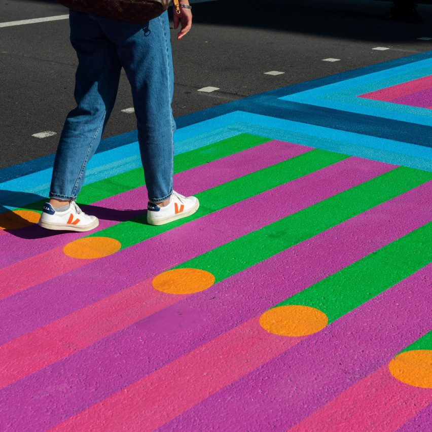 Feet walking over Yinka Ilori crossings for Bring London Together