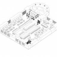 Axonometric drawing of Virgin Izakaya Bar by YODEZEEN