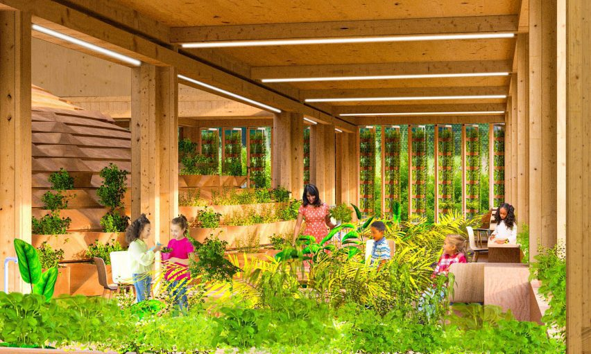 An illustration of a learning centre where students learn to grow food