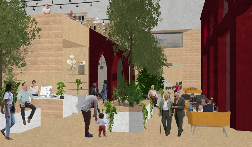 An illustration of a centre designed for the elderly