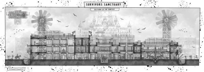 Студенческая иллюстрация Святилища выжившего (Черная чума Блэкпула, Ходячие мертвецы)
