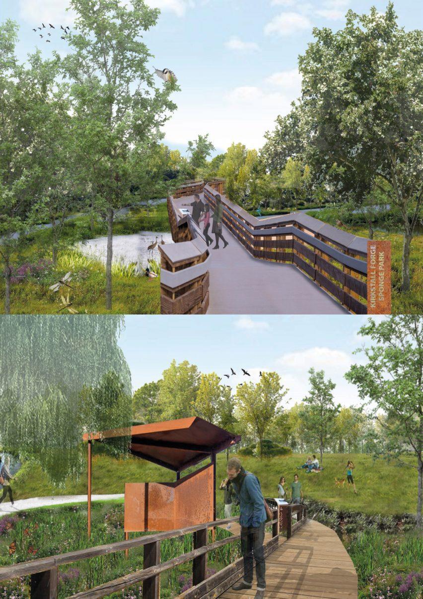 Изображение Губочного парка Киркстолл-Фордж, сделанное Нишей Хокридж.