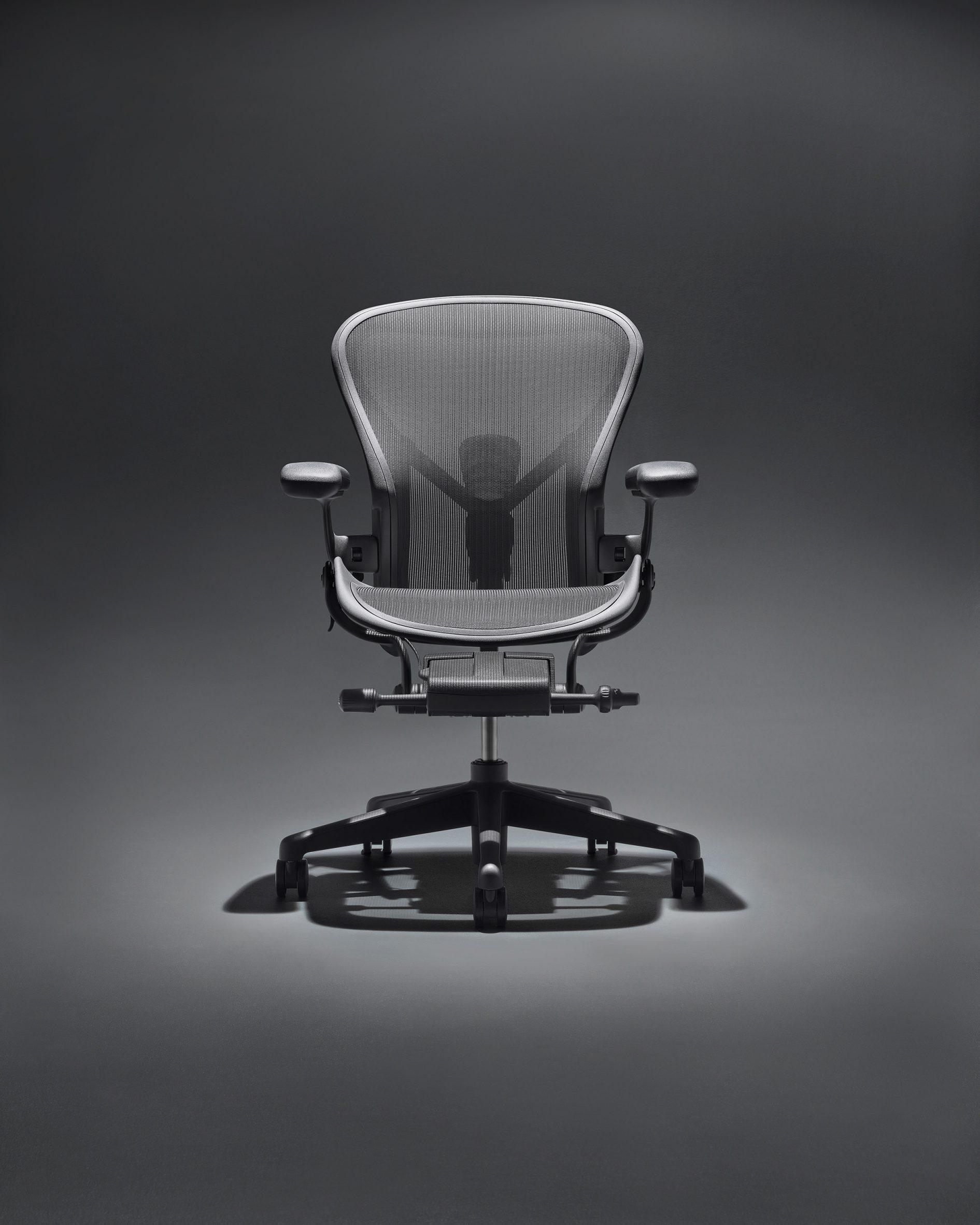 A black Aeron Onyx chair by Herman Miller