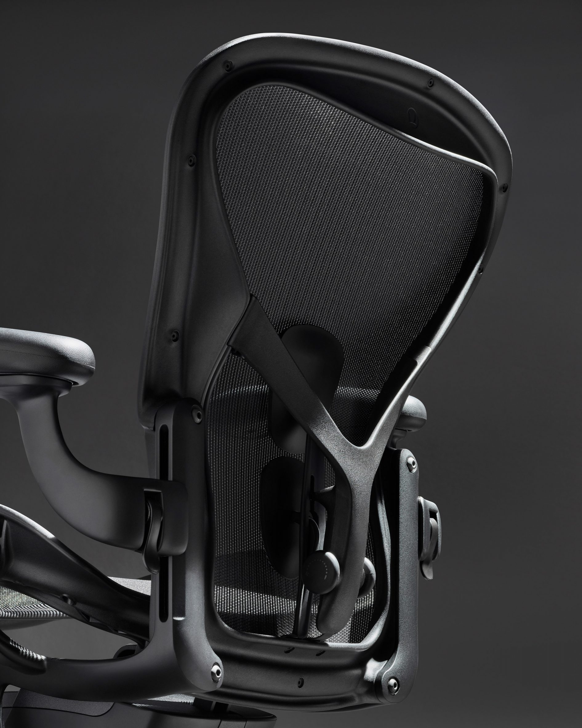 The back of a black office chair