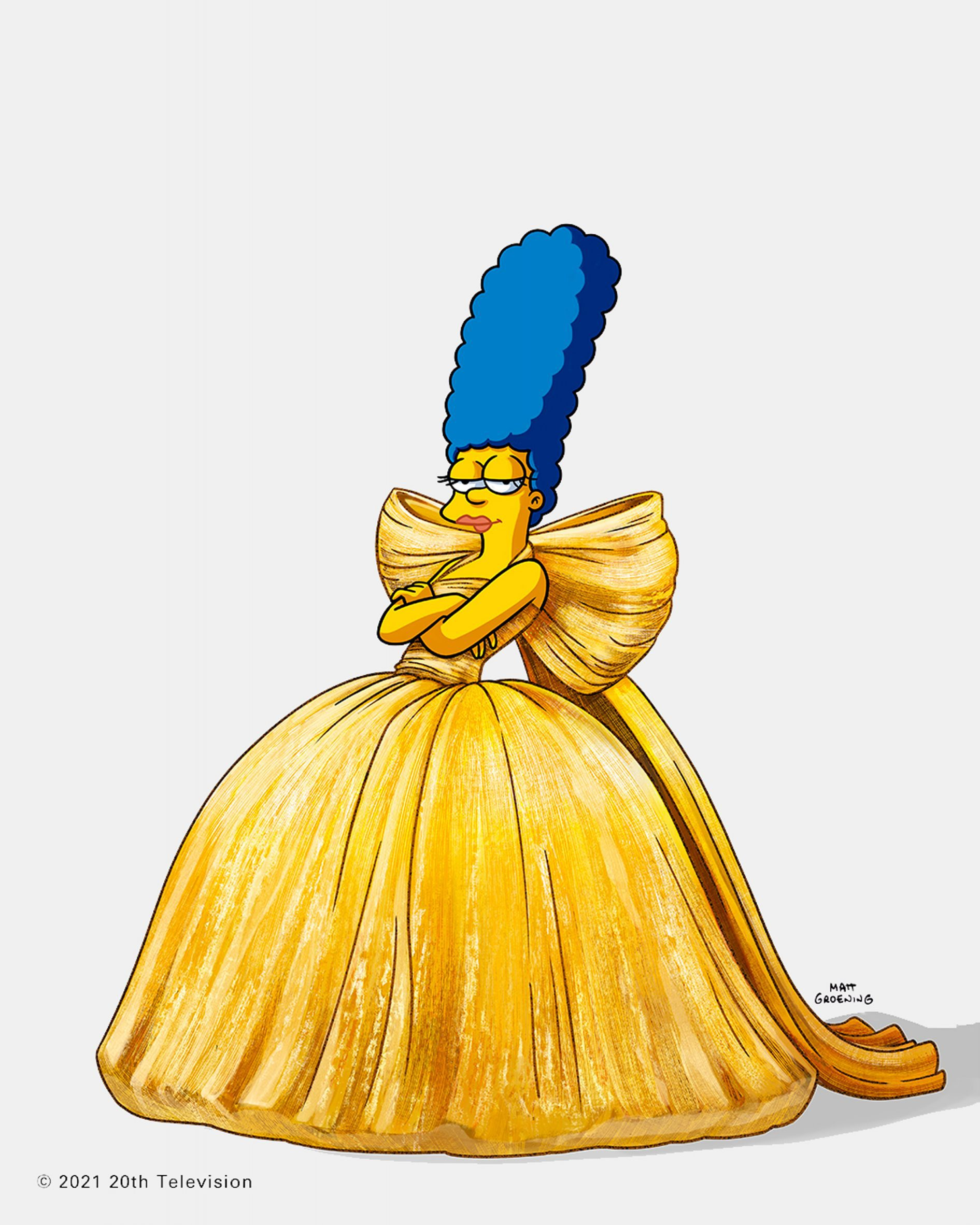 Marge simpson is pictured posing wearing a balenciaga dress