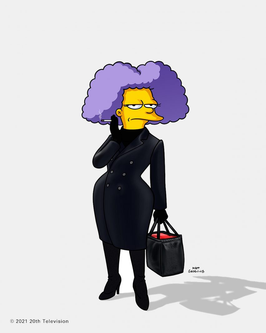 A simpsons character was animated wearing a black outfit from a previous balenciaga show