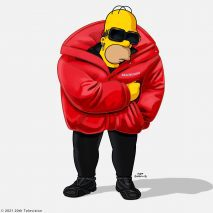 Homer simpsons is dressed in a red balenciaga jacket