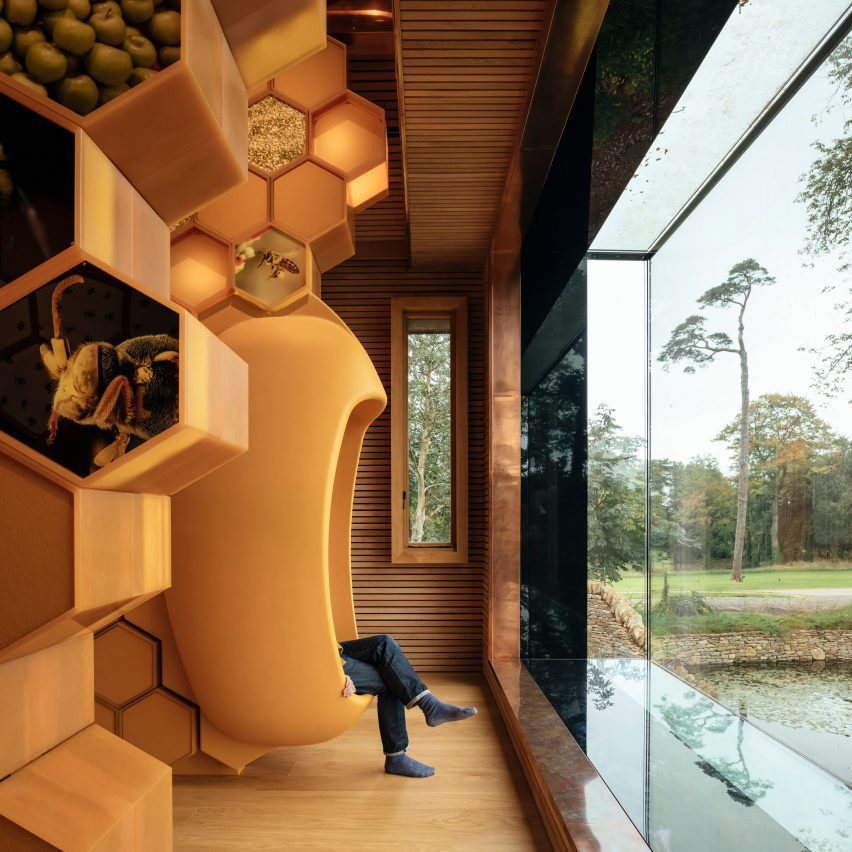Bay window in The Beezantium by Invisible Studio at The Newt in Somerset