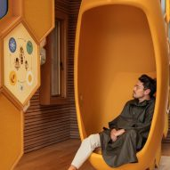 Pod seat in The Beezantium by Invisible Studio at The Newt in Somerset