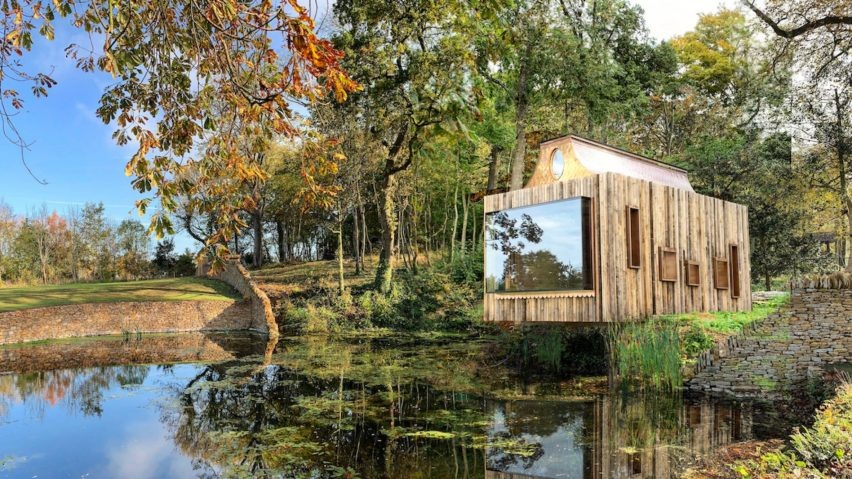 Lake view of The Beezantium by Invisible Studio at The Newt in Somerset