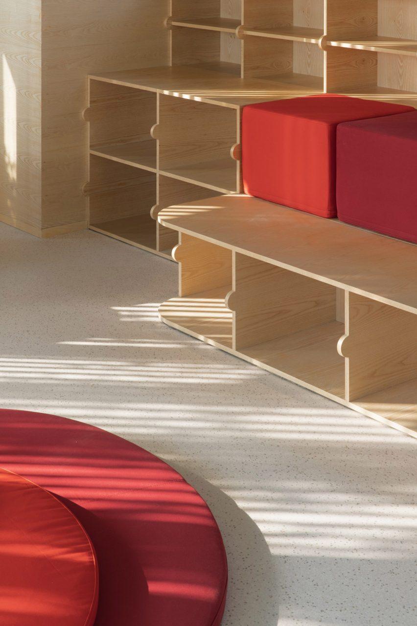 Seating inside Bund Post Office designed by Yatofu