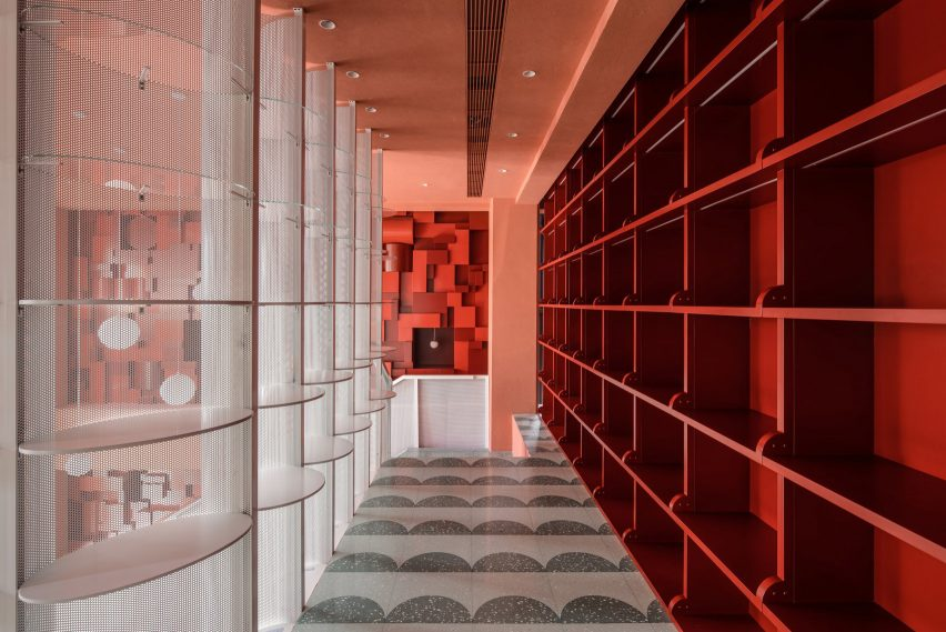 Bund Post Office designed by Yatofu features red, white and green interiors