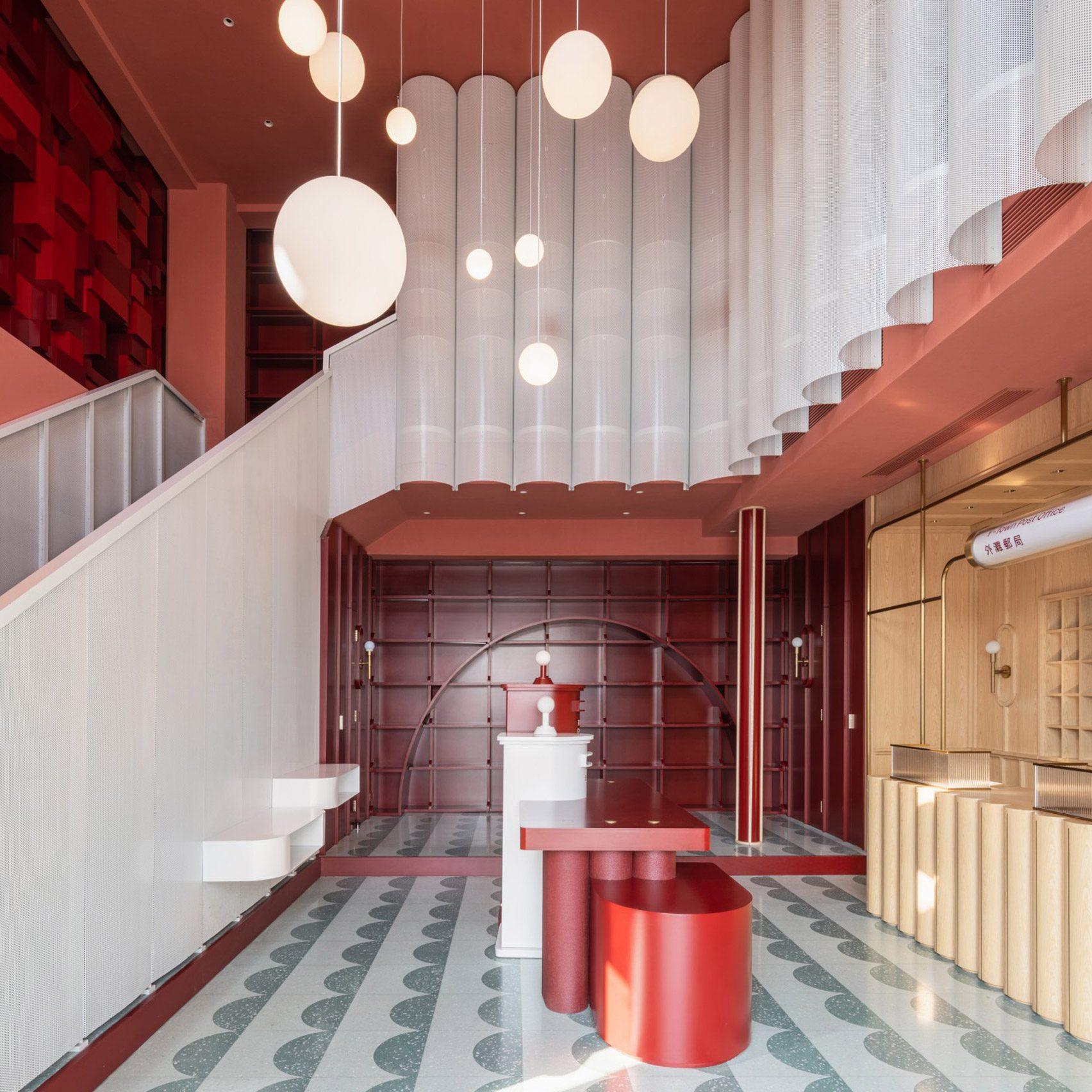 Yatufo applies festive hues to mixed-use post office in Zhejiang