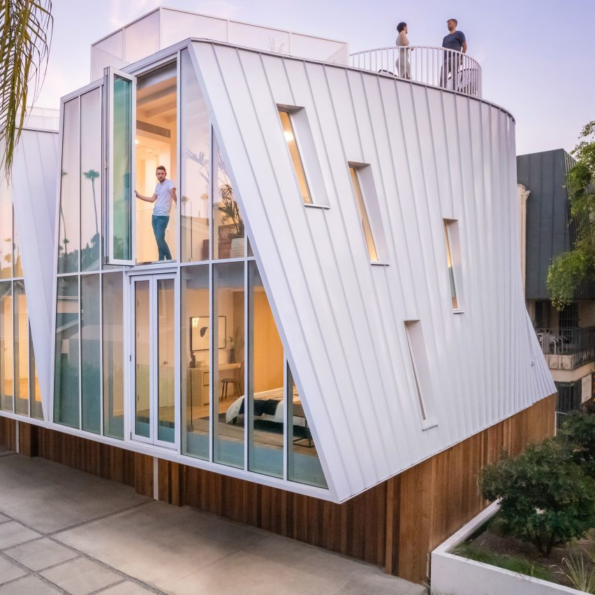 Sloped walls form Canyon Drive housing complex by LOHA in Los Angeles
