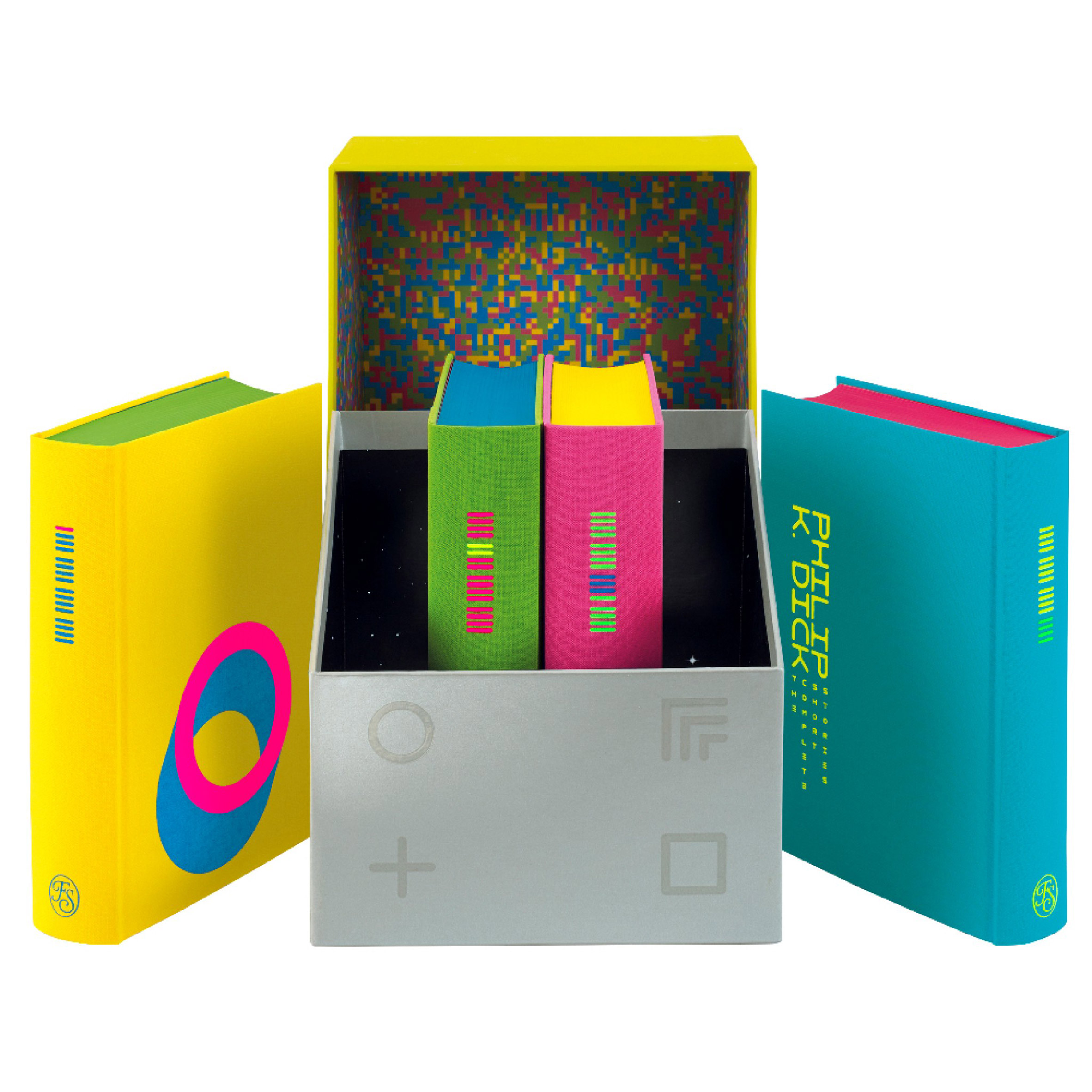 The Complete Short Stories: Philip K Dick box set by The Folio Society box open to reveal glitch patterned lining and four neon-coloured volumes