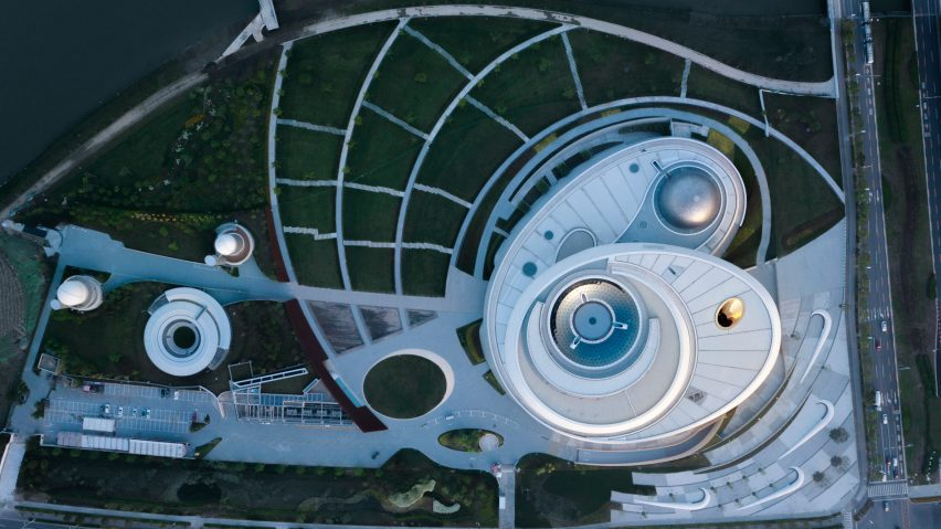 Aerial view of a large circular astronomy museum