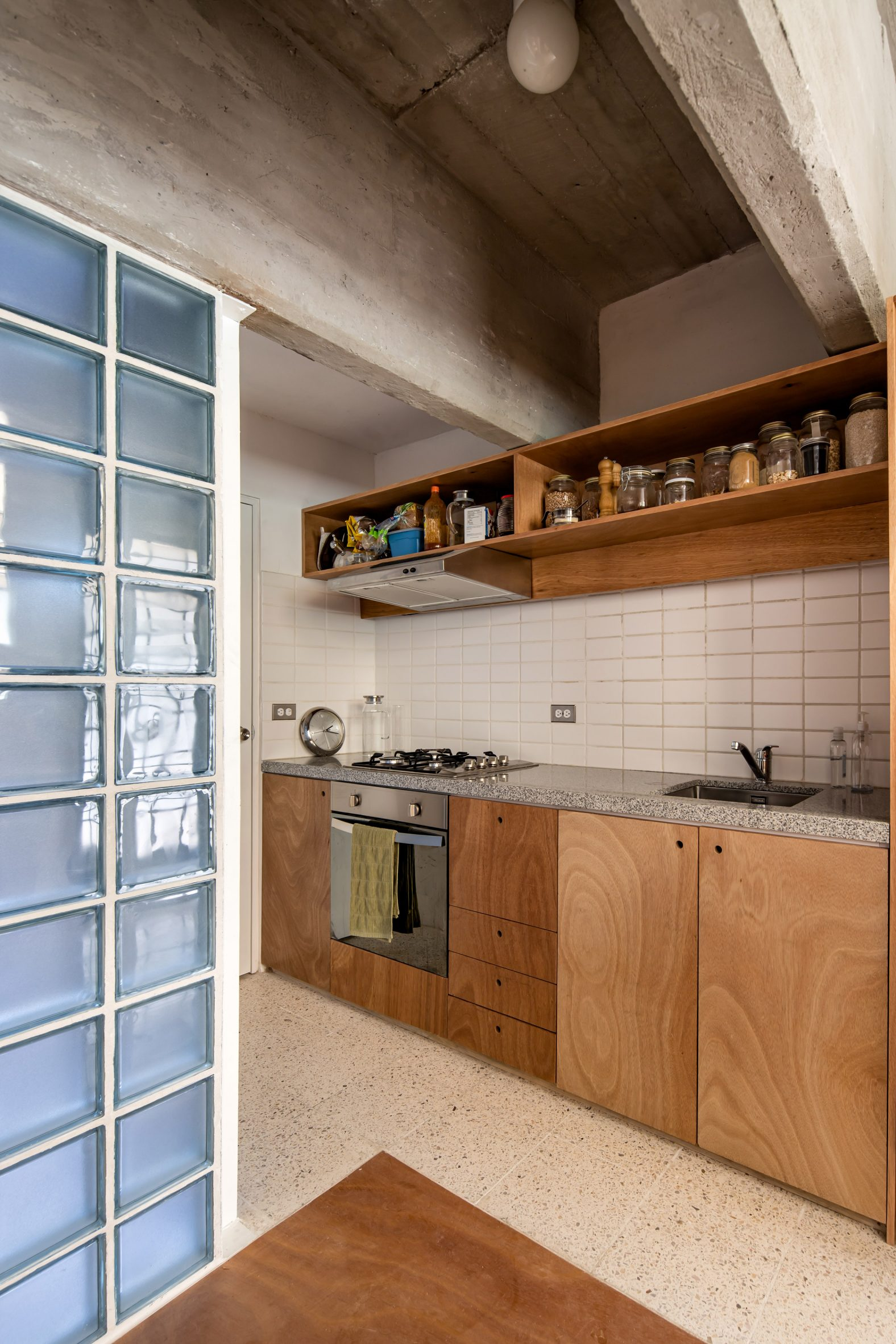The renovated kitchen by Escobedo Soliz