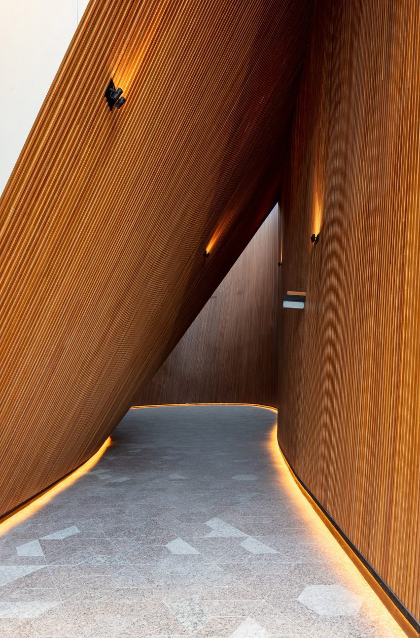 Timber-lined interior space