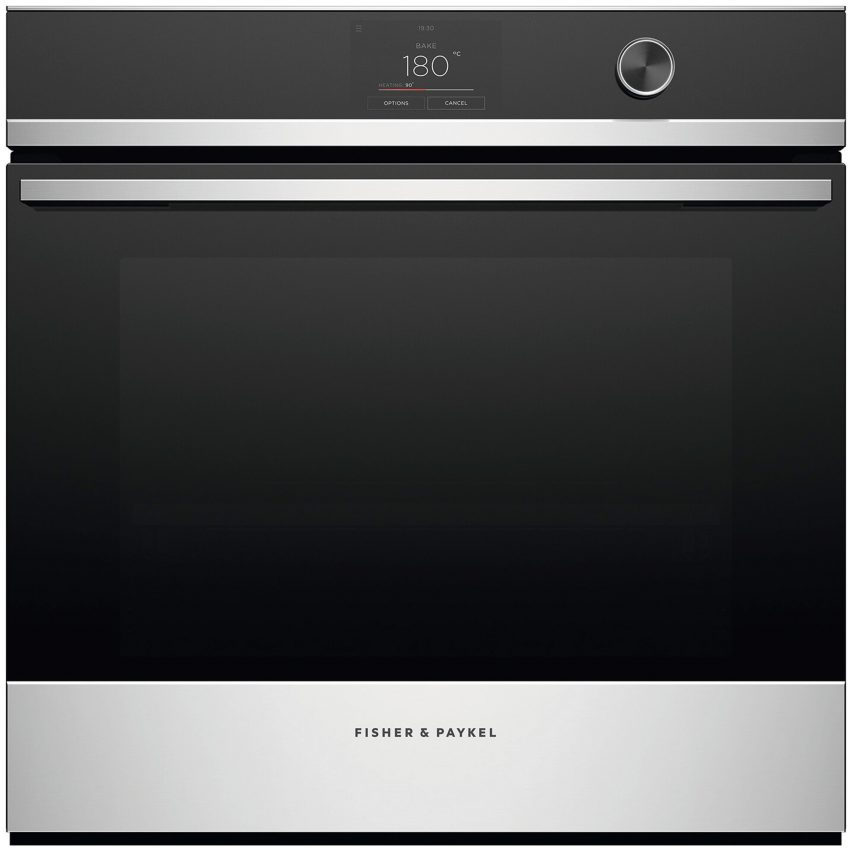 A black and silver touch screen oven