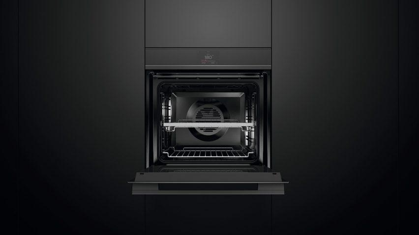 An open black oven