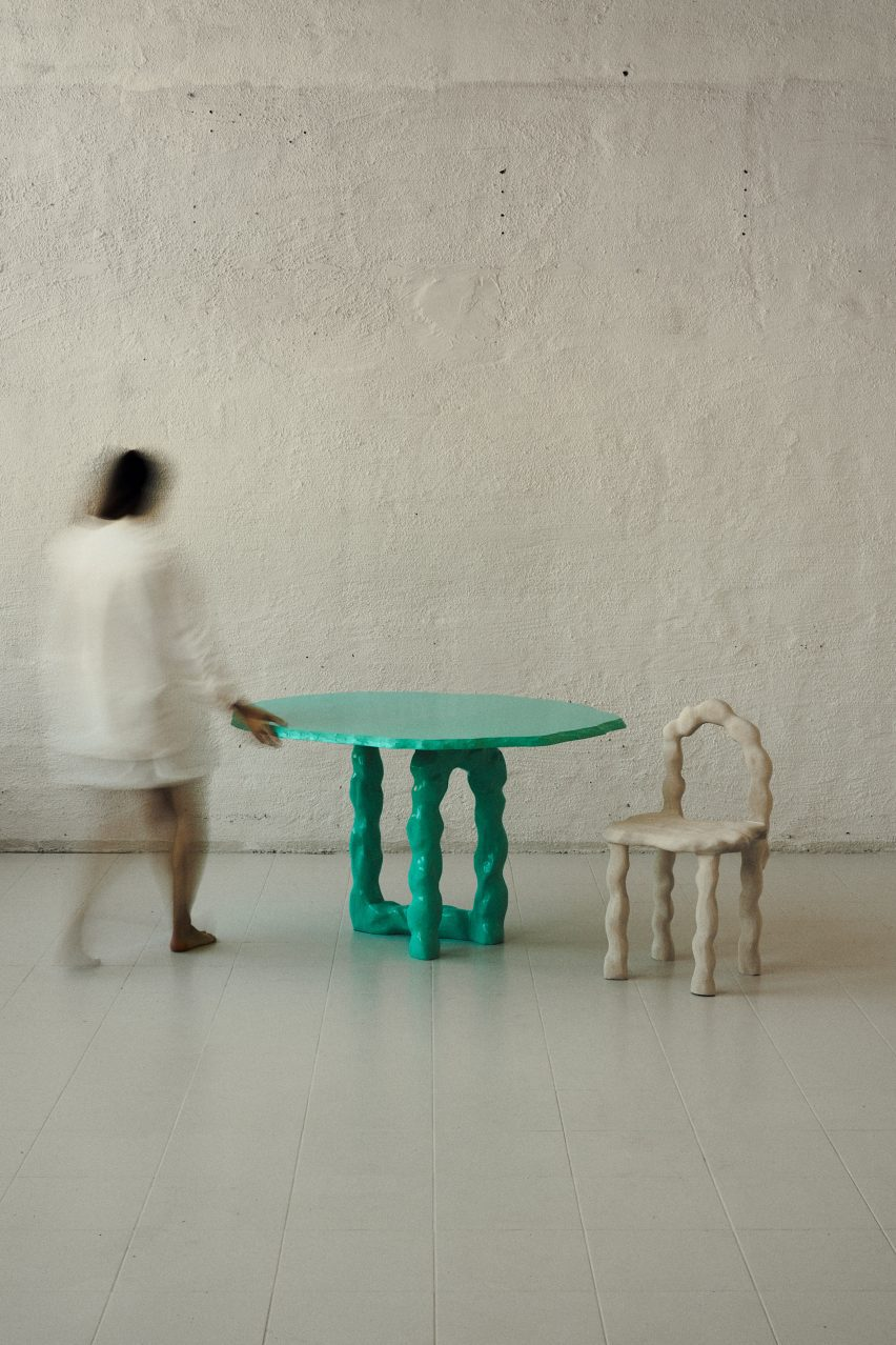 Viride dining chair and dining table by Anna Maria Øfstedal Eng at Ny Normal exhibition by Fold Oslo