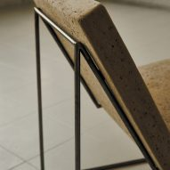 Papirstein Stol paper and steel lounge chair by Poppy Lawman at Ny Normal exhibition by Fold Oslo