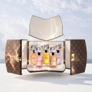 Five perfume bottles designed by Frank Gehry for Louis Vuitton