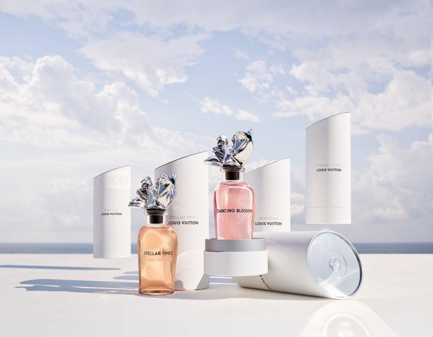 Les Extraits perfume bottles in white cases