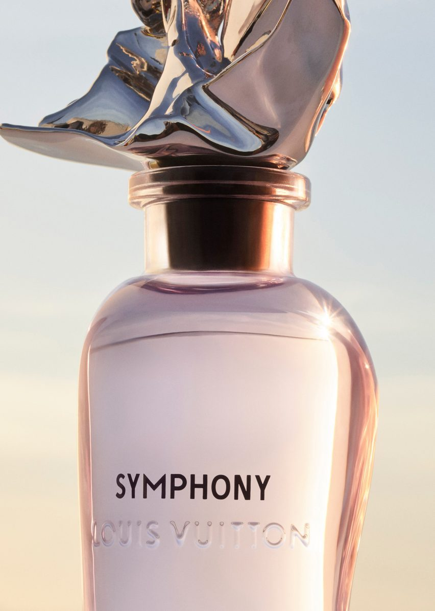 Frank Gehry's Symphony perfume bottle filled with pink liquid