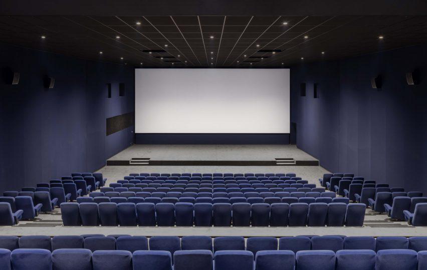 écran de cinéma bleu