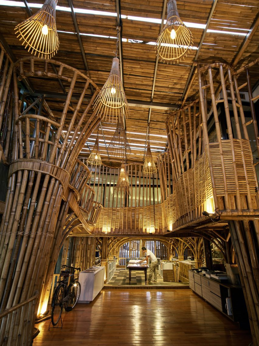 High bamboo ceiling