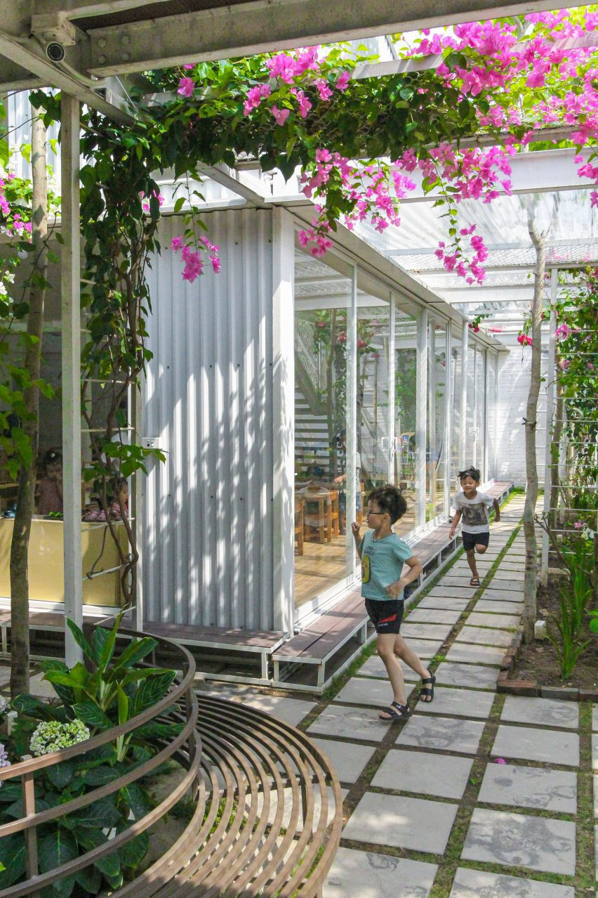 Teaching spaces open out to the gardens and courtyards