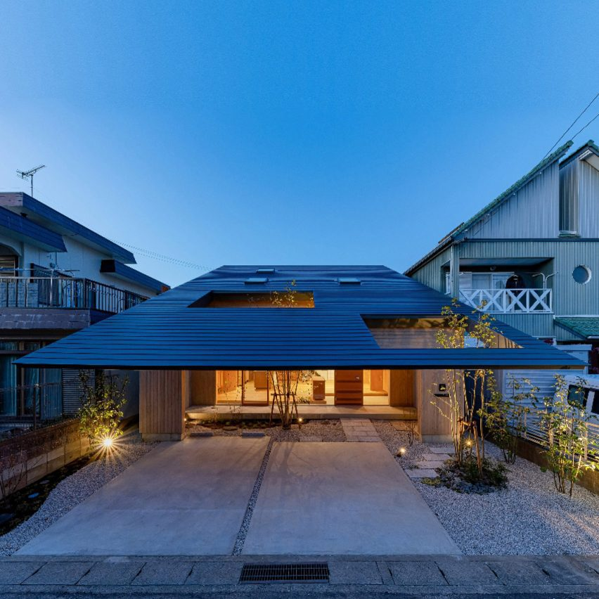 A house with overhanging roof eaves