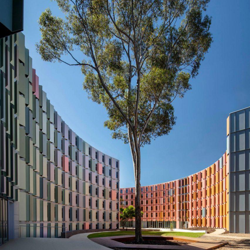 The facade has a multicoloured look