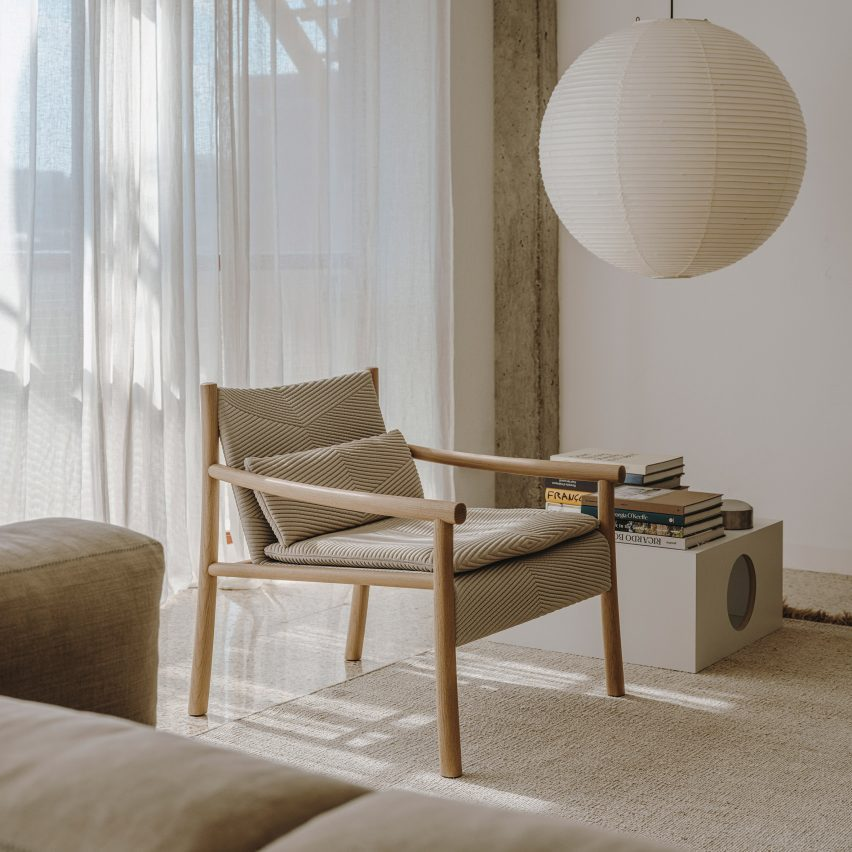 Katu chair in a pared-back living room interior