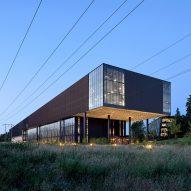 Steel mesh wraps Nike's LeBron James Innovation Center by Olson Kundig