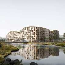 A render of a cross-laminated timber building