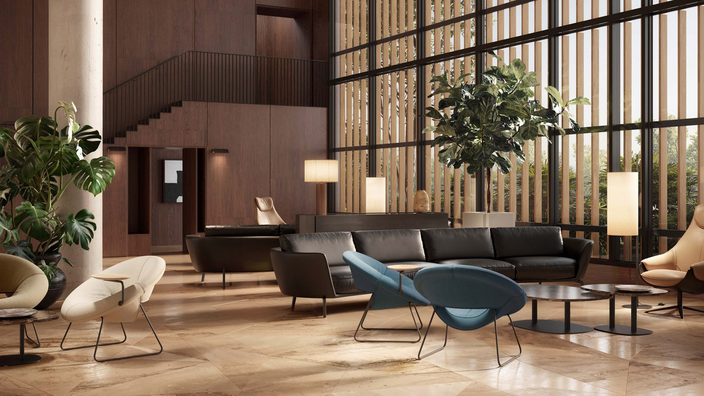 Multiple LXR18 armchairs in blue and beige colours situated in a lounge area with greenery, lamps and sofas dotted around