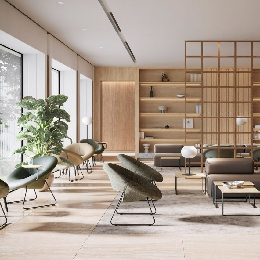 Lounge area in office filled with Leolux LX's LXR18 armchairs in green and beige colours