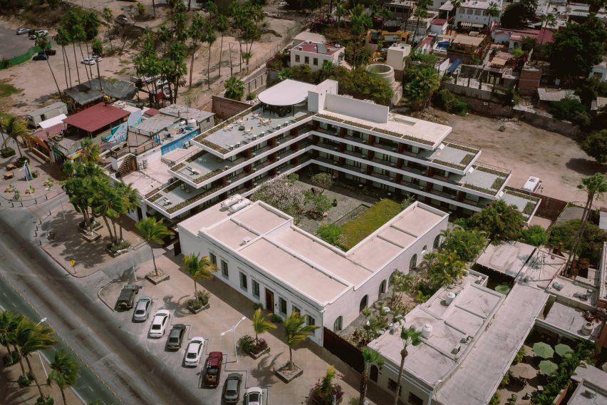 Baja Club Hotel is an L-shaped building
