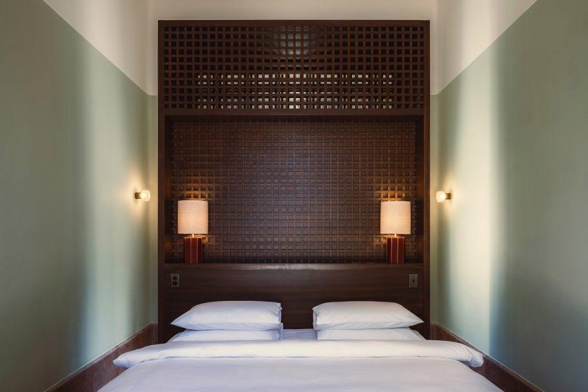 Dark wooden interiors in a guest room