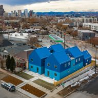 Blue co-housing complex by Productora fits eight units onto two Denver lots