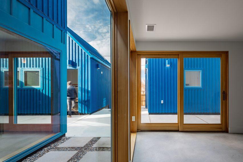 Bright blue co-housing in Denver