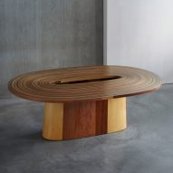 Brodie Neill coils veneer from trees harvested underwater into table
