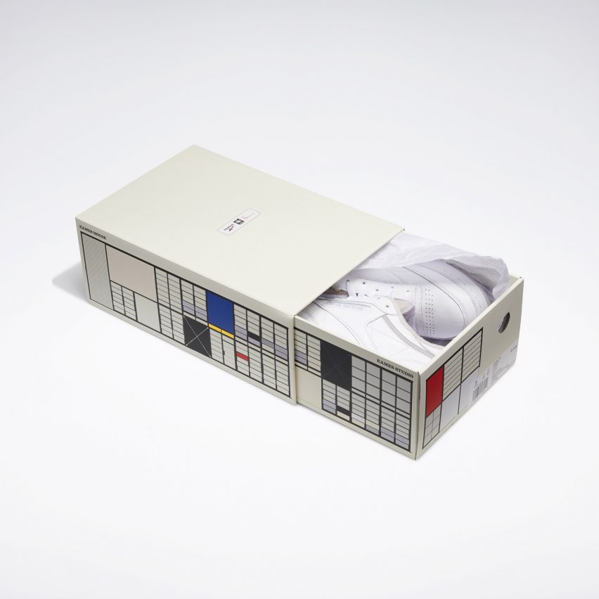 A shoebox with the Ray Eames house patten