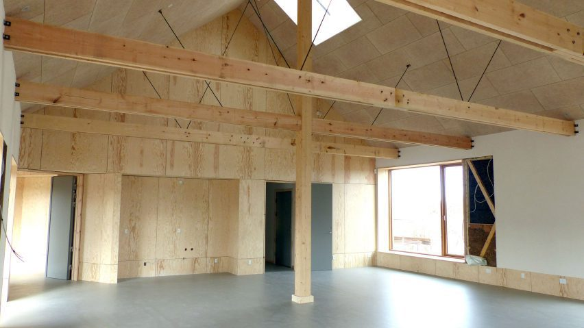 Inside Henning Larssen's Feldballe timber school