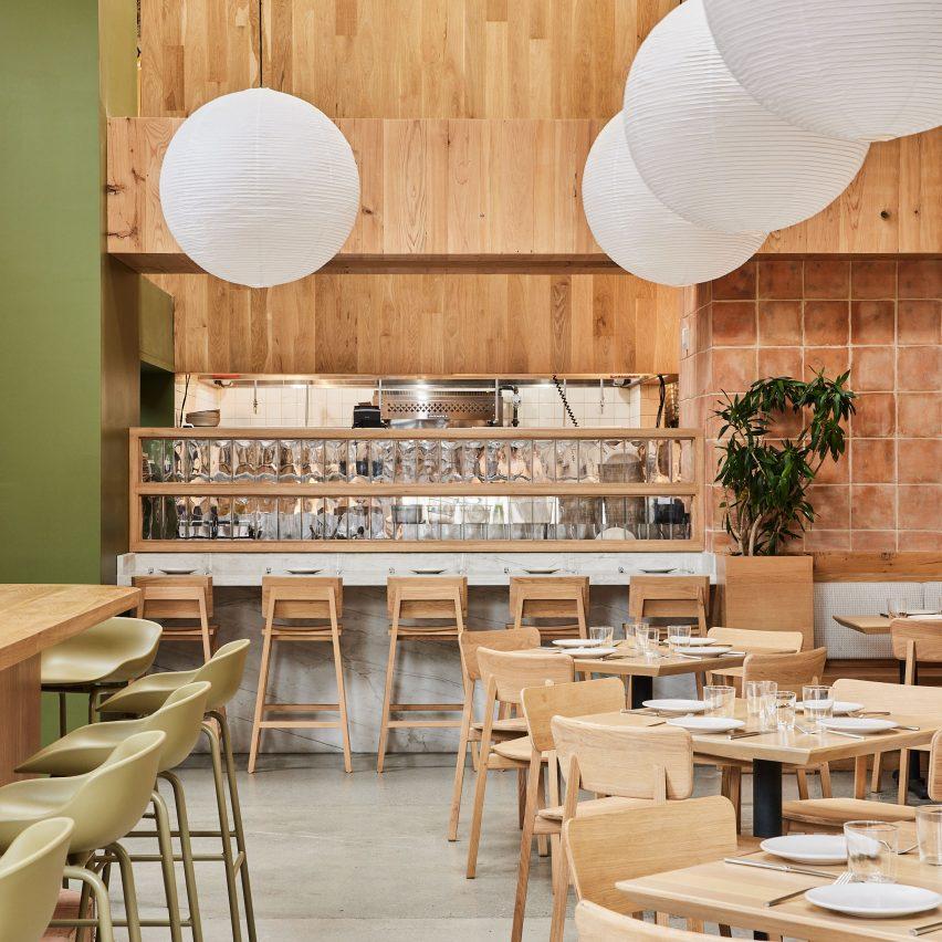 Usonian architecture informs Sereneco restaurant in Greenpoint by Carpenter + Mason