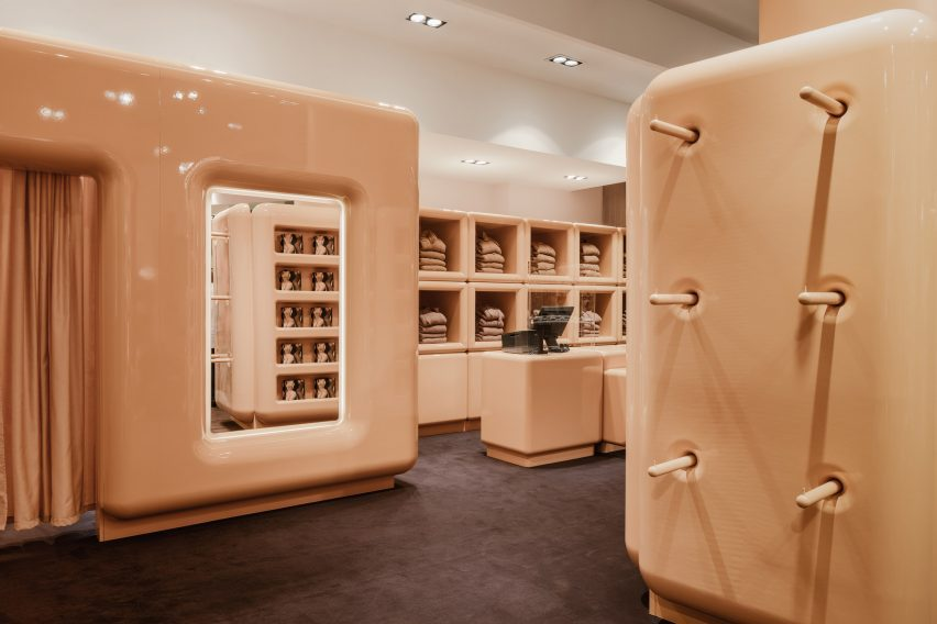The lossy, beige interior of the Paris SKIMS pop-up shop
